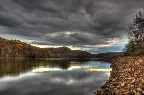 sunset lake fall water leaves clouds canon pennsylvania keystone hdr t2i