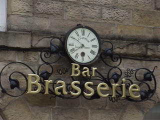Bar Brasserie - The Old Courthouse - George Street, Buxton - clock and sign - Le Cacheur Chateau Thierry | by ell brown