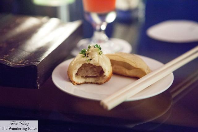 Bitten shengjian bao and pan fried dumpling