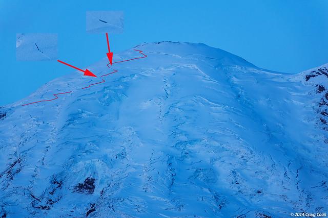 Early morning climbers on Mount Rainier