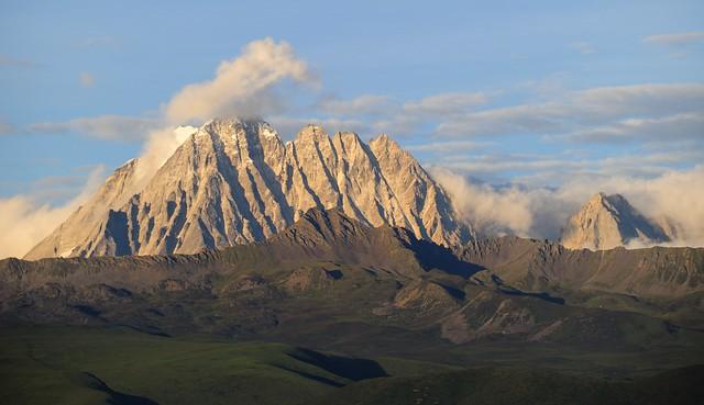 The sacred Mountain Zhara Lhatse in sunset, Tibet 2014