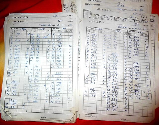London Transport Edgware Garage bus runout sheets 12.4.1979 + 29-3-1980