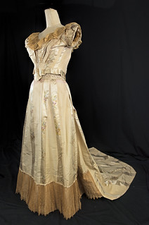 1855 French Satin & Silk Wedding Dress