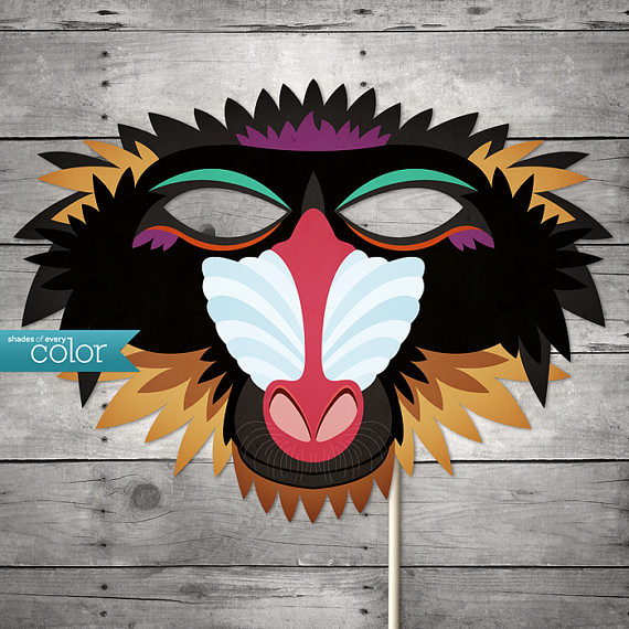 This is an image of Printable Monkey Mask for color