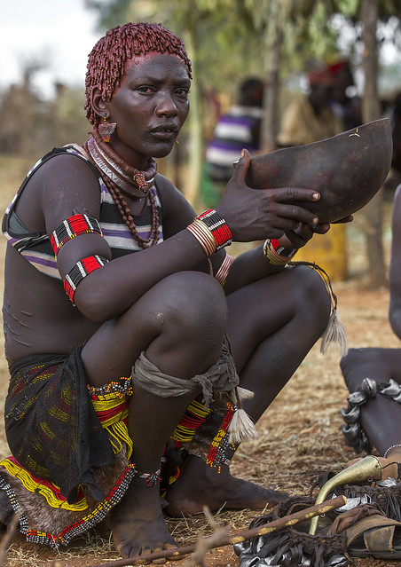 Bashada Tribe Woman Crying During A Bull Jumping Ceremony, Dimeka, Omo Valley, Ethiopia