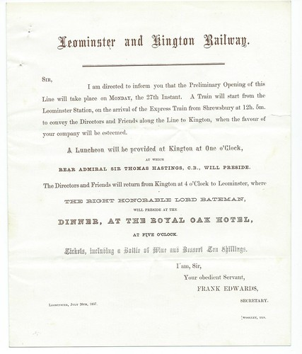 Leominster and Kington invite to opening of the line 1857   by ian.dinmore