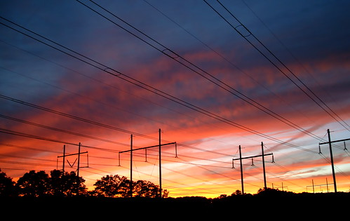 flickr foto photo image capture picture photography sony color colorful bright vivid orange red blue dark pretty beauty beautiful sky clouds stars sunset twilight evening summer massachusetts sonydscw300 powerlines transmissionlines skyporn cloudporn natureporn naturephotography newenglandsunset plainvillemassachusetts newengland