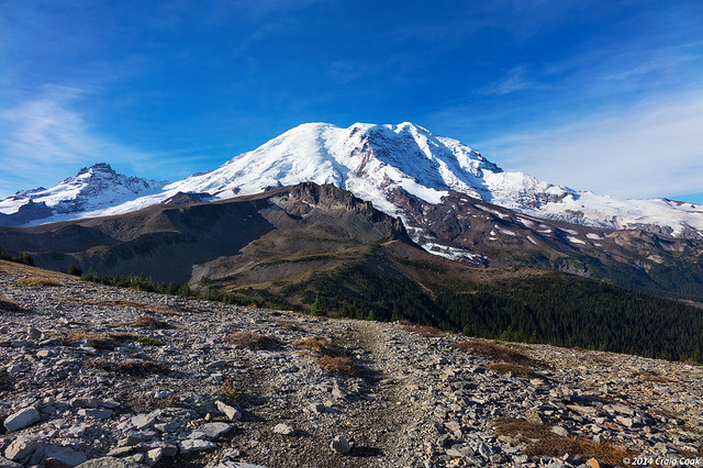 Mount Rainier as viewed from Skyscraper Pass on the Wonderland Trail
