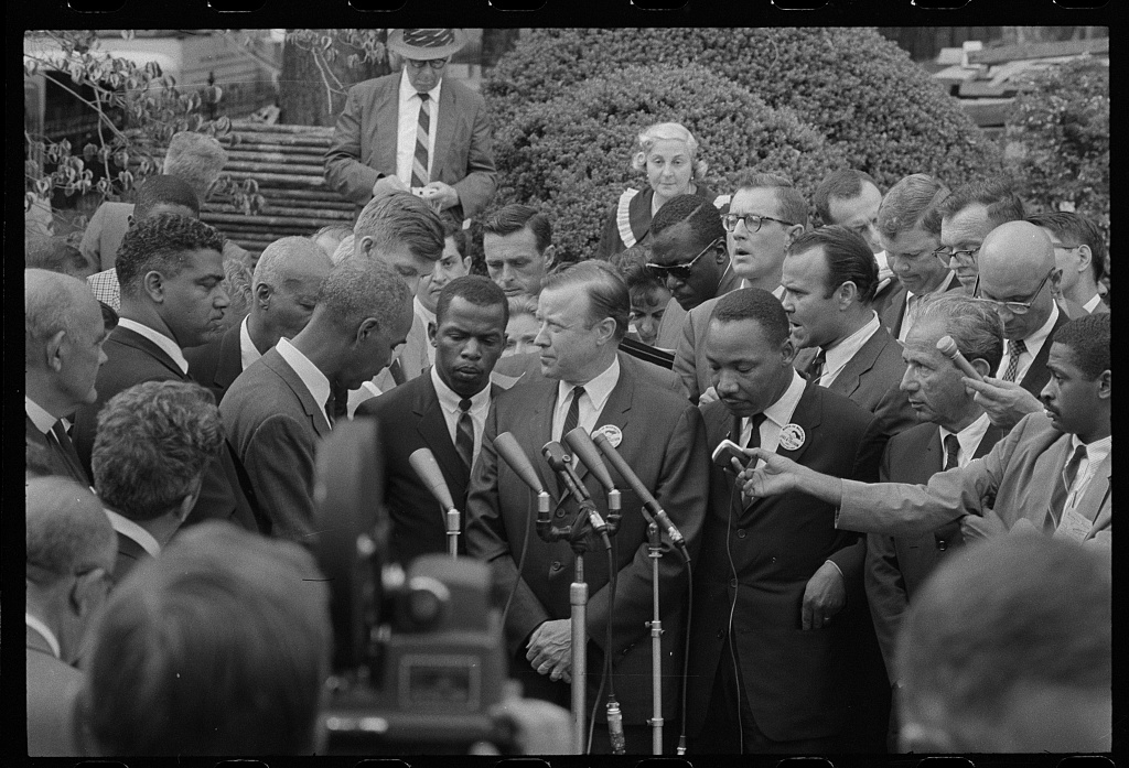[Civil rights leaders talk with reporters after meeting with President John F. Kennedy after the March on Washington, D.C.] (LOC)