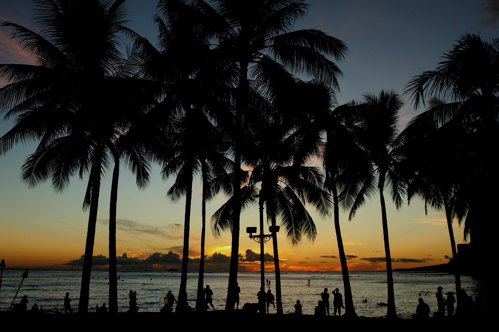 Sunset Waikiki Beach Honolulu Hawaii Prayitno Thank