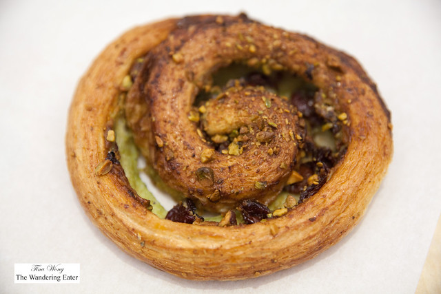 Dried cherry and pistachio swirl