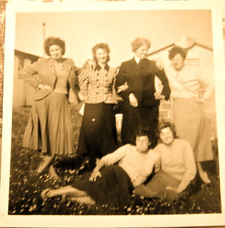 """9). """"The sluts"""" WRNS from Exmouth 5, RNAS Culdrose dressed up as camp sluts; photo by my mum"""