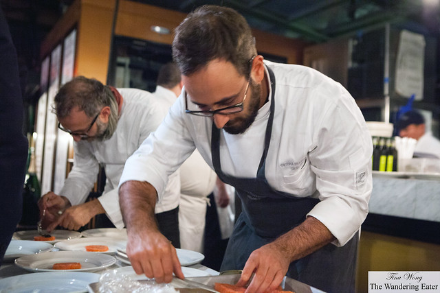 Chef Massimo Bottura (left) and Luciano Monosilio plating