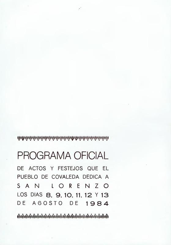 Programa de Fiestas San Lorenzo 1984