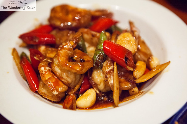 Szechuan prawns in garlic and chiles