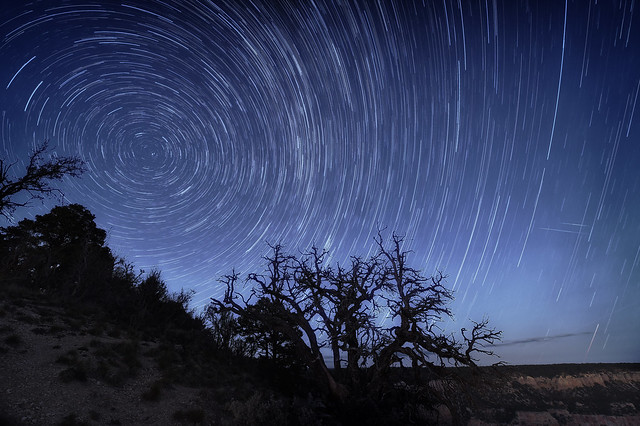 Star Tails over the North Rim, Grand Canyon