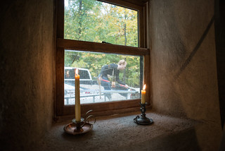 Straw Bale Cottage Window SIll with Candles | by goingslowly