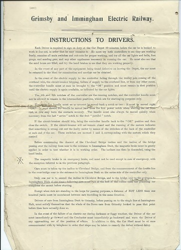 Grimsby and Immingham Electric Railway Instructions to Drivers 1914 | by ian.dinmore