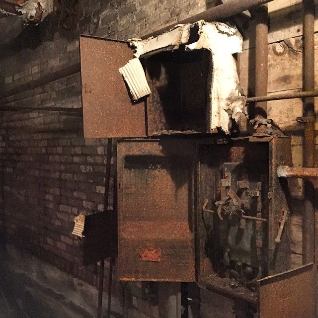 this basement a fuse box in the �ber rustic basement of the old colonial  theater  this basement