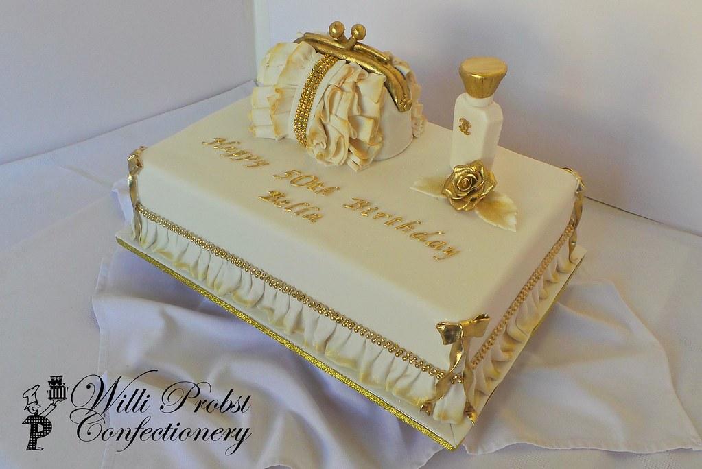 Surprising 50Th Handbag And Perfume Bottle Themed Birthday Cake Flickr Funny Birthday Cards Online Necthendildamsfinfo
