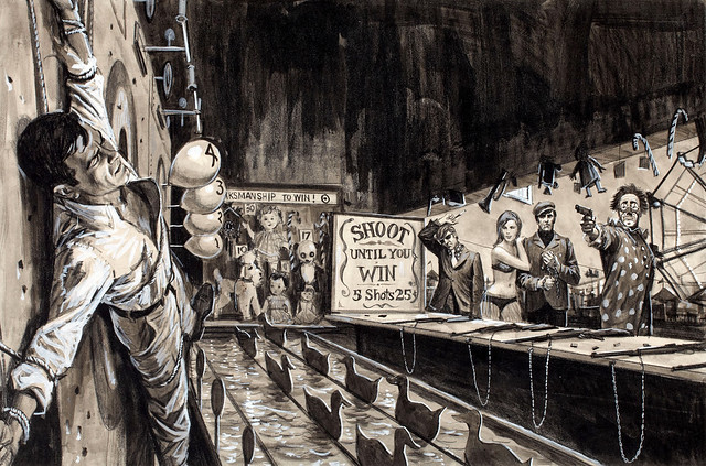 Shooting Gallery, For Men Only, men's adventure magazine story illustration by Gil Cohen
