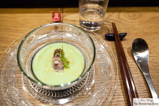Cold edamame soup, smoked uni with praying mantis shrimp
