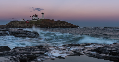 ocean york longexposure travel blue sunset usa lighthouse seascape beach water horizontal landscape rocks unitedstates maine atlantic explore bluehour capeneddick nubblelighthouse