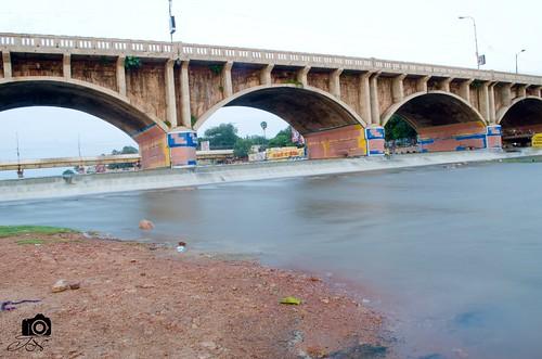 bridge water sunrise river nikon 1855mm madurai d7000 koripalayam