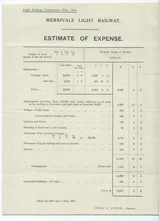 Merrivale Light Railway Estimate of Expense 1908 | by ian.dinmore