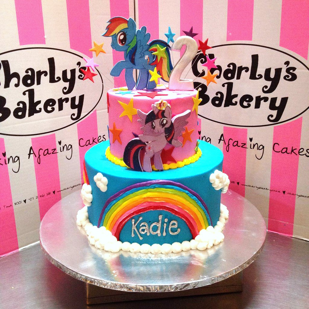 My Little Pony Birthday Cake.2 Tier My Little Pony Themed 2nd Birthday Cake With 2d Mou