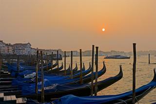 Gondolas at Dawn in Venice