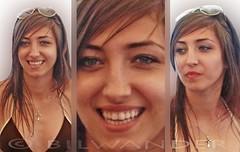 Greece, Macedonia, Chalkidiki, beach girl's smile