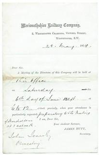 Merionethshire Railway letterhead 1874 | by ian.dinmore