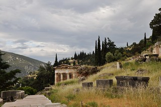 The Sibyl rock on the right side of the Athenian treasury, Delphi