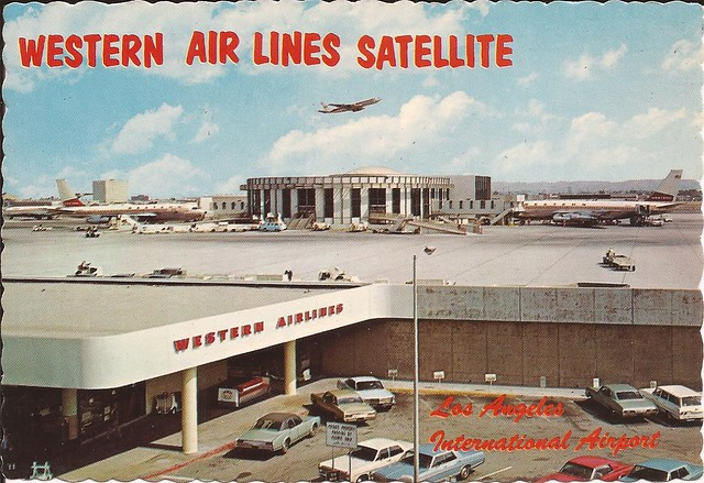 Los Angeles International Airport (LAX) postcard of Western Airlines Satellite - 1960's