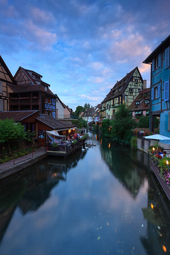 sunset france reflection water dinner evening town terrace eating colmar alsace channel timberframing petitevenise