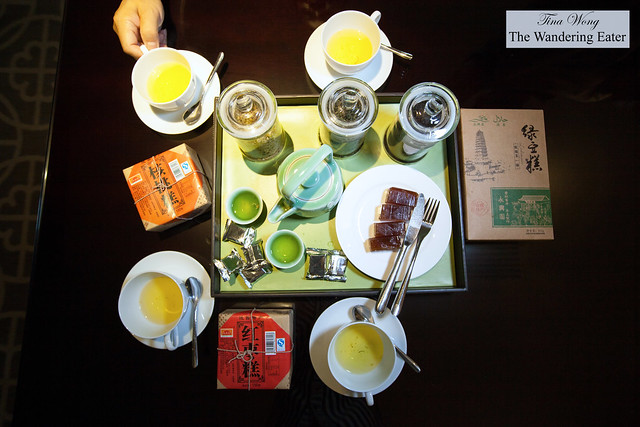 Relaxing at our room's living area with their loose leaf teas