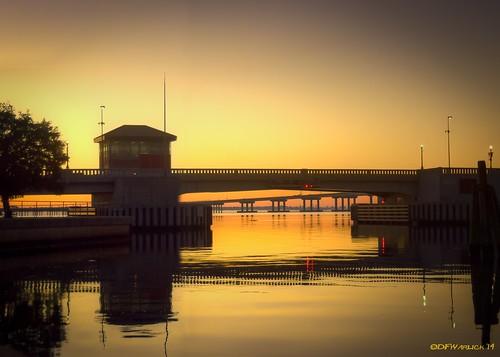 orange reflection photoshop sunrise nikon unitedstates bridges northcarolina lightroom newbern photomatix newseriver