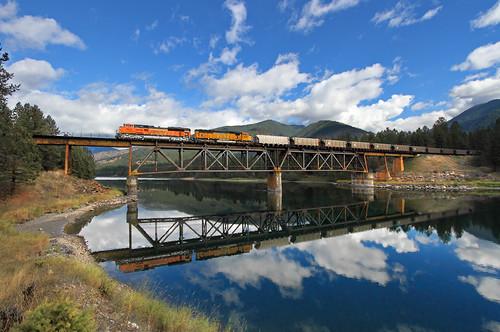 railroad bridge reflection train river montana mt bnsf mrl emd belknap clarkfork coaltrain thompsonfalls sd70ace montanaraillink unittrain newlocomotive mrl'sfourthsubdivision