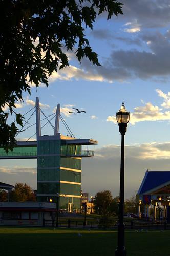 sunrise waterfront iowa ia mississippiriver riverfront davenport skywalk daveport