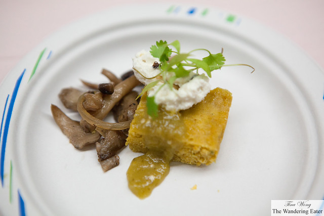 Corn tamale cake with wild mushrooms, tomatillo sauce from North Square Restaurant