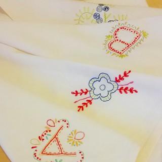 Flour sack dish towel corners. Hand embroidery.