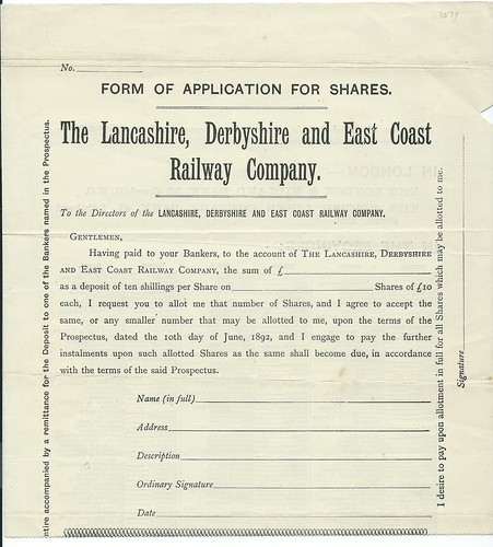 Lancashire, Derbyshire and East Coast Railway Application for Shares 1892 | by ian.dinmore