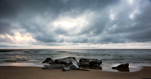 ocean sea clouds rocks waves atlantic oceancity