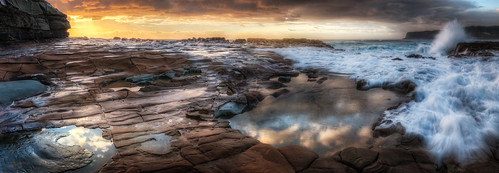 ocean sea panorama sun seascape beach water sunrise canon dawn coast rocks central sigma australia panoramic filter nsw nd f18 centralcoast hdr avoca 1835 11000 kenko puresilk 70d