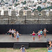 Greece, Macedonia, Kavala, amateur mature females rehearsing on castle's stage