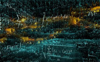 Cliche stock photo o' floating teal 'n' orange math equations | by ▓▒░ TORLEY ░▒▓
