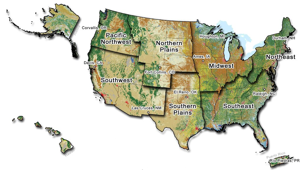 Map of the United States showing the Climate hub regions a ...