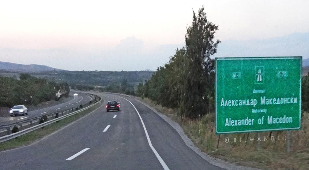"""FYROM*, pseudohistory brainwash ... on road signs, """"Alexander of Macedon"""" motorway #vardarska"""