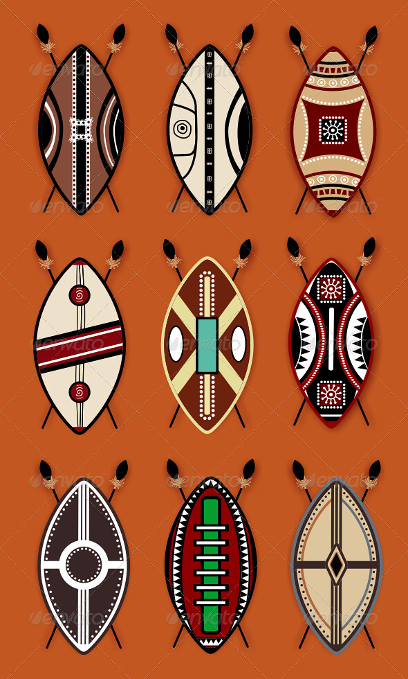 maasai shields vector set | For download - graphicriver net